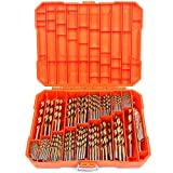 SEDY 250 Pieces Titanium Twist Drill Bit Set, Titanium High Speed Steel Wood Drill Bit Kit for Wood/Steel/Plastic/Aluminum/Copper with Hard Storage Case, Conventional 135° Tip, Size from 3/64' up to 1/2'