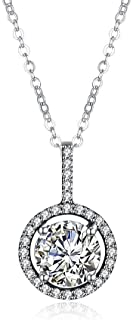 Home S925 Sterling Silver Necklace Female European and American Classic Round Diamond Pendant Necklace Clavicle Chain (Color : Pink) Girls Necklace (Color : White)