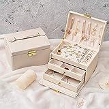 porta gioielli donna,scatola di porta gioielli portagioie da viaggio con 2 serrature a cassetto per anelli bracciali orecchini collane regali interni in velluto i migliori regali per le donne(bianca)