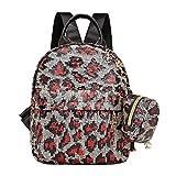 ACIL 2 unids/set lentejuelas leopardo impresión mochila embrague mujeres viaje hombro escuela bolsas para adolescentes niñas, D