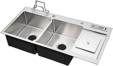 Amazon Com Robdae Kitchen Sinks Stainless Steel Sink Kitchen Sink Deep Double Bowl Sink 100x48cm Bar Or Prep Kitchen Sink Color Silver Size 100x48cm Home Kitchen