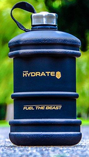 Hydar Strength and Fitness - Botella de agua hexagonal unisex de medio galón, color negro mate, talla única