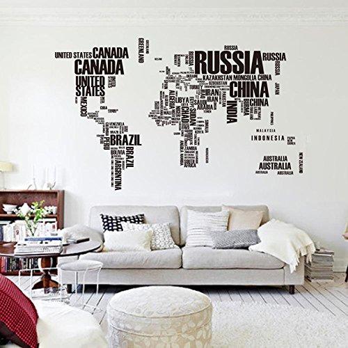 Engomadas de la pared de la letra del mapa del mundo de la cita de Vinilo removible Decal Mural Decoración Pegatinas