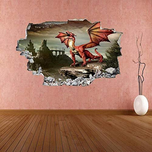 HUJL Wandtattoo Red Dragon Fantasy Castle 3D Wall Sticker Mural Decal Kids Bedroom Decor CP24