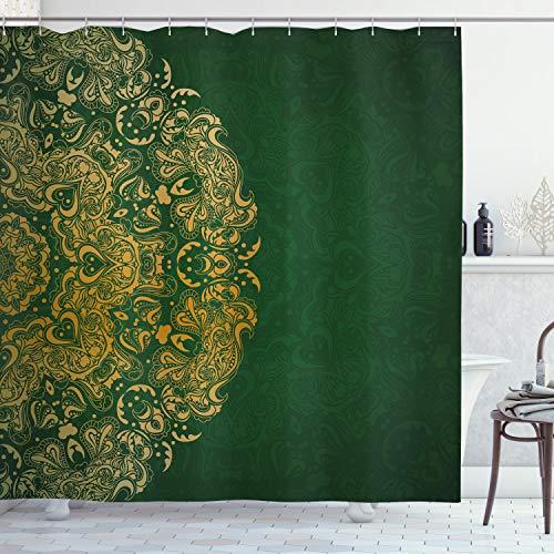 "Lunarable Emerald Shower Curtain, Inspirations in Vibrant Colored Mandala Design Swirls Curves, Cloth Fabric Bathroom Decor Set with Hooks, 84"" Long Extra, Mustard Emerald"