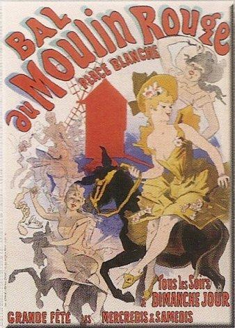 FRANSE VINTAGE METAAL SIGN 40X30cm FRANSE MOULIN ROUGE BAL MUZIEKE Hal wit vierkant PARIJS