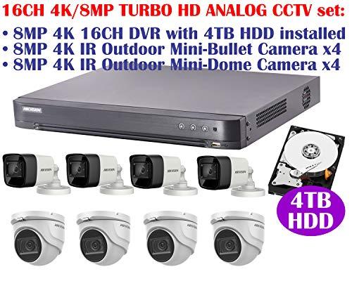 Best Deals! 4K 8MP 16CH Turbo HD Analog CCTV Set: 16CH HVR with 4TB HDD Installed, 4K 8MP IR 2.8mm F...