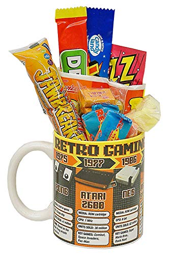 Retro Gaming Years Mug Filled With an 8-Bit Selection of 80s Sweets ft. classic consoles inc. Pong, Atari 2600, NES