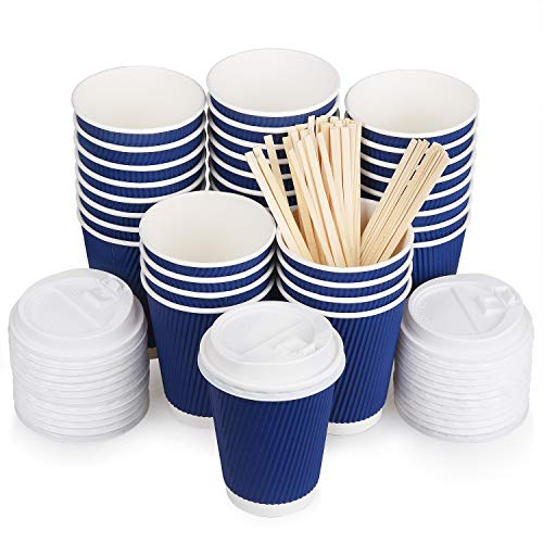 Coffee Cups with Lids 12oz & Bamboo Stirrers 100 Pack, Disposable Insulated Paper Cups, 3-Layer Wall No Leak Safe To-Go Set for Coffee, Hot Drinks For Home, Office, Food Service