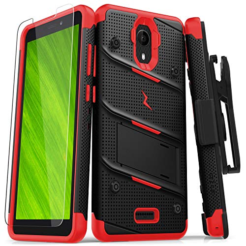 ZIZO Bolt Series Cricket Icon Smartphone Case | Heavy-Duty Military-Grade Drop Protection w/Kickstand Included Belt Clip Holster Tempered Glass Lanyard (Black/Red)