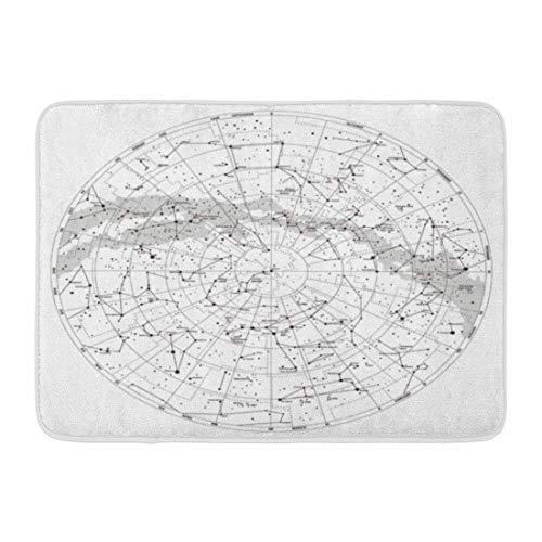Fußmatten Badteppiche Außen- / Innentürmatte Astronomie Hochdetaillierter Himmel Karte der nördlichen Hemisphäre Namen Sterne und Sternbilder Diagramm Badezimmerdekor Teppich Badteppich