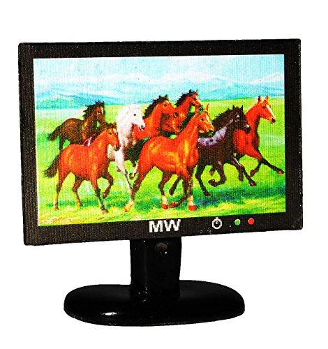 alles-meine.de GmbH TV / Fernseher - mit 3-D Pferdemotiv - für Puppenstube Miniatur - Maßstab 1:12 - Kleiner Flachbildschirm - Geldgeschenk - Puppenhaus / Puppenhausmöbel - Wohnz..