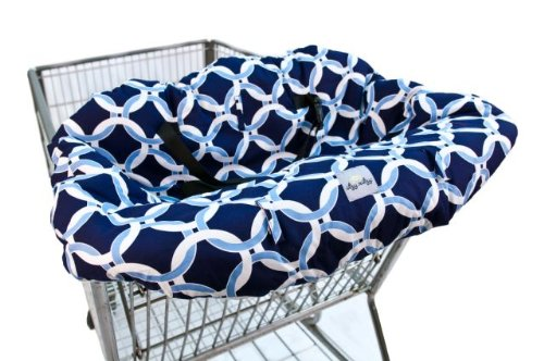 Itzy Ritzy Shopping Cart and High Chair Cover Featuring Padding, Toy Loops, Pockets and Safety Belts - for Use in Shopping Carts and High Chairs, Social Circle Blue