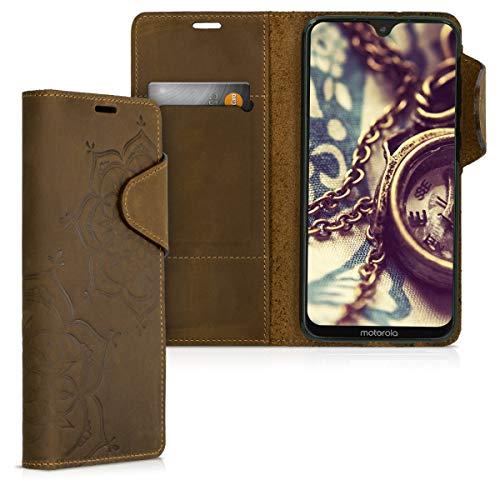 対応: kalibri Motorola Moto G7 / Moto G7 Plus ケース - 高級 本革 カード入れ 保護カバー フラワーツインズデザイン モトローラ モト