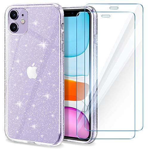 YIRSUR Hülle Kompatibel mit iPhone11 und 2 Stück Panzerglas -Transparent Glitzer