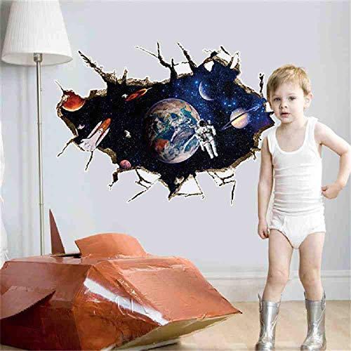 JPDP Astronauts Nursery Living Room Bedroom Backdrop Solar System Wall Stickers For Kids Rooms Outer Space 3D Effect Wall Decals Hm1Sk9066A