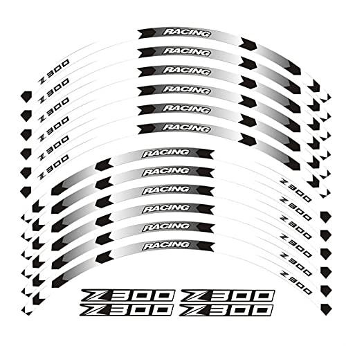Etiqueta de la Rueda de la Motocicleta Equipo de Carreras de Motocicletas Accesorios Accesorios de Rueda Neumático Rim Decoración Adhesiva Adhesiva Etiqueta Etiqueta para Z300 Z 300 (Color : 04)