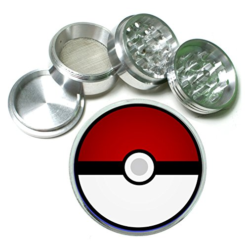 PokeBall Anime Video Game 4 Pc. Aluminum Tobacco Spice Herb Grinder