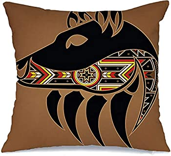 Decorative Linen Throw Pillow Cover Isolated Bear Grizzly Wild with Symbol Head Tribal Tattoo Claw Animals Abstract Wildlife Nature Comfortable Square Cushion Case for Car Couch Bed 20 x 20 Inch