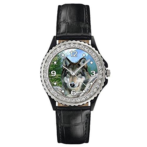 Timest - Indianischer Wolf - Strass Damenuhr mit Lederarmband (schwarz) Rund Analog Quarz CSG0024