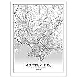 YUAN Leinwand Bild,Uruguay Montevideo Stadt Karte Schwarz