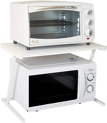 Estante De Cocina Estante para Microondas Estante De Almacenamiento para Horno - 2 Capas Estructura De Madera De Acero Blanco Capacidad De Carga 50 Kg: Amazon.es: Hogar