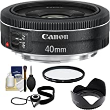 Canon EF 40mm f/2.8 STM Pancake Lens with UV Filter + Hood + Cleaning Kit for EOS 6D, 70D, 5D Mark II III, Rebel T3, T3i, T4i, T5, T5i, SL1 DSLR Cameras