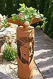 8-Eck Säule Löwe + Schale 4-Eck Edelrost Rost Metall Gartendeko Garten Stele