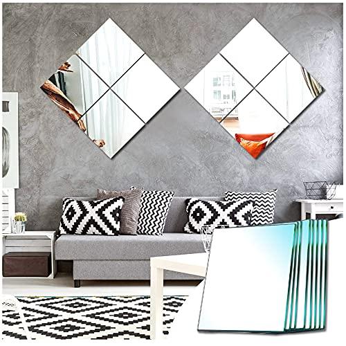 Sqinor Miroir Mural Verriere Adhesif Carré Decoratif Miroir Autocollant Decoration Maison pour Chambre Salon Porte (Broyage Ordinaire, 20.5x20.5cm, 8 Pièces)
