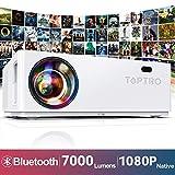 TOPTRO Vidéoprojecteur Bluetooth 7000 Lumens Projecteur Full HD 1080P Natif 1920x1080 Soutien 4K, Son Dolby, Contraste 10000:1, Correction Digital 4D±50°, Zoom X/Y, Rétroprojecteur LED, Home Cinéma