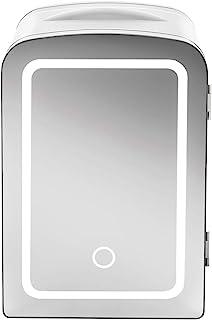 Chefman Portable Mirrored Beauty Fridge With LED Lighting 4 Liter Mini Refrigerator, Skin Care, Makeup Storage, w/Mirror &...