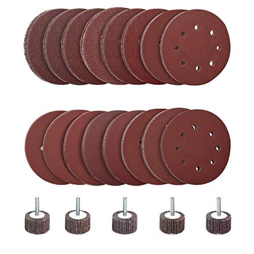 Hakkin 160 teilig Klett Schleifscheibe Set 125mm Schleifpapier mit 8 Löcher für Schwingschleifer Polieren mit 5 stück Handrad