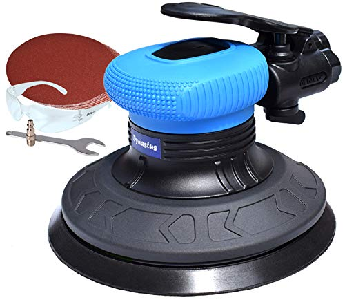 6-Inch Random Orbit Air Palm Sander, Dual Action Pneumatic Polisher with Velcro Hook and Loop Backing Pad and 10pcs Sanding Discs