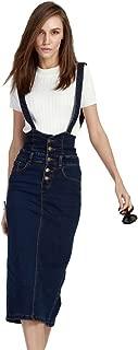 Women's Adjustable Strap Pencil Bodycon Midi Suspender Denim Skirt