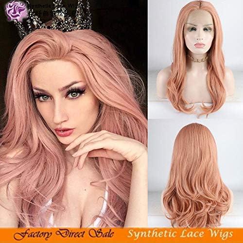 WIG MINE Perruque perruque or rose longue et longue dentelle bouclée