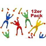 Lg-Imports 12er Set Fensterkletterer Ninja 4 Farben ca. 9cm Mitgebsel Tombola Geburtstag Kindergeburtstag