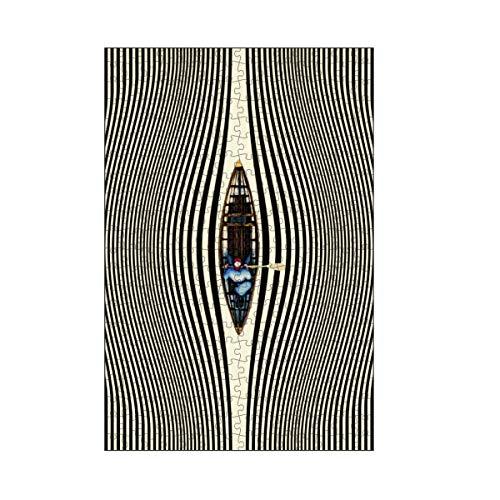 artboxONE-Puzzle M (266 Teile) Sport Illusionary Canoe Ride - Puzzle op Art abstrakt Boat