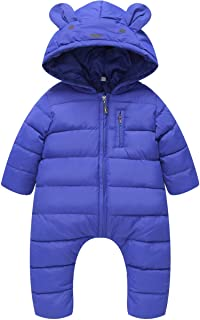 JELEUON Little Unisex Baby Hooded One Piece Puffer Jacket Jumpsuit Winter Warm Snowsuit Romper
