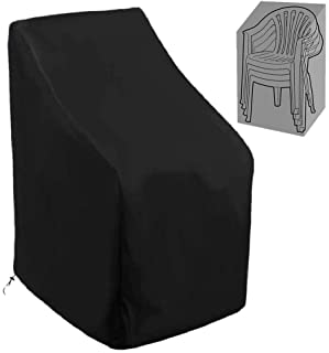 Patio Stackable Chair Covers 420D Waterproof Outdoor High Back Stackable Dining Chair Cover Patio Furniture Protector Fits...