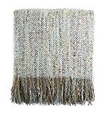 Fennco Styles Light Aqua Faux Mohair Shabby Chic Throw Blanket with Tassel, 50' W x 60' L