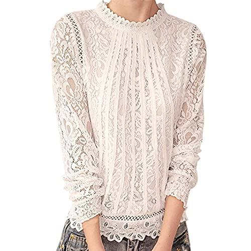 Tops Mujer Primavera Verano Cuello Medio Manga Larga Mujer T-Shirt Elegante Encaje Color Puro Diseño Todos Los Días Casual Cómodo All-Match Mujer Camiseta B-White M