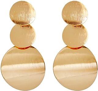 Bobury Cuelga los Pendientes 1 par Moda Oro Plata Color Irregulares geométricas Redondas para Mujeres de la Muchacha de Ba...