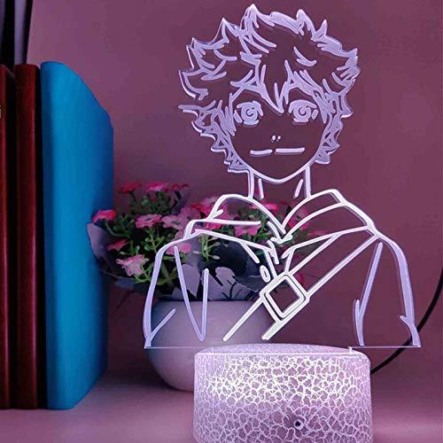 Luz nocturna para niños 3D Luz nocturna Haikyuu Anime LED lámpara con mando a distancia, 7 colores que cambian de Navidad, Halloween, regalo de cumpleaños para niño niña