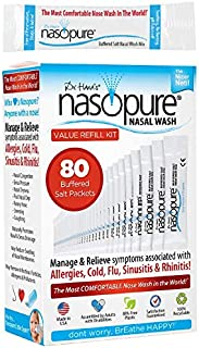 Dr. Hana's Nasopure Nasal Wash - Value Refill Kit - Includes 80 Nasopure Buffered Salt Packets