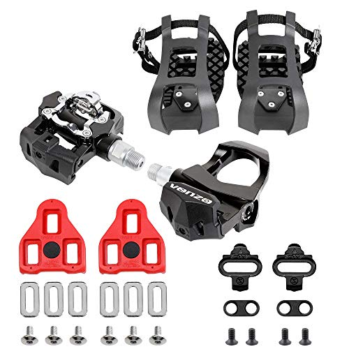 """Venzo Repacked Compatible with Peloton -3 in 1- Look Delta, Toe Cage, SPD - Indoor Bike Pedals - Fitness Exercise Indoor Cycling Pedals Compatible with Shimano SPD,Toe Clip & Delta - 9/16"""" Thread"""