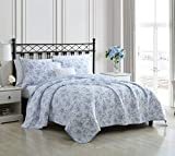 Laura Ashley Home - Walled Garden Collection - Quilt Set - 100% Cotton - Cozy, Soft and Breathable - Reversible & Medium-Weight for All Seasons, Queen, Blue