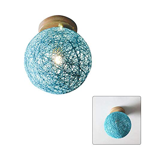 Rattan Ceiling lampshade Wicker Ceiling Pendant lampshade Modern Small Beige Globe Ball Style E27 Solid lamp Holder Ceiling Pendant Light Lampshade (Blue, 20cm)