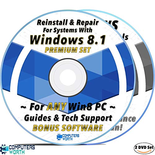 CW Repair Install Recovery AntiVirus DVD Set for Windows 8 / 8.1 Systems, Bootable Disc w/ Drivers & Software For All Brands