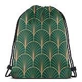 Yuanmeiju Art Deco Geometric Seamless Pattern Royalty Free Vector Shoulder Bolsa con cordón Backpack String Bags School Rucksack Gym Sport Bag Lightweight