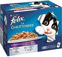 Purina Felix Le Guottonerie - Comida de Gato Le Preferite con Ternera, gallina, salmón y atún, 60 Sobres de 100 g Cada...